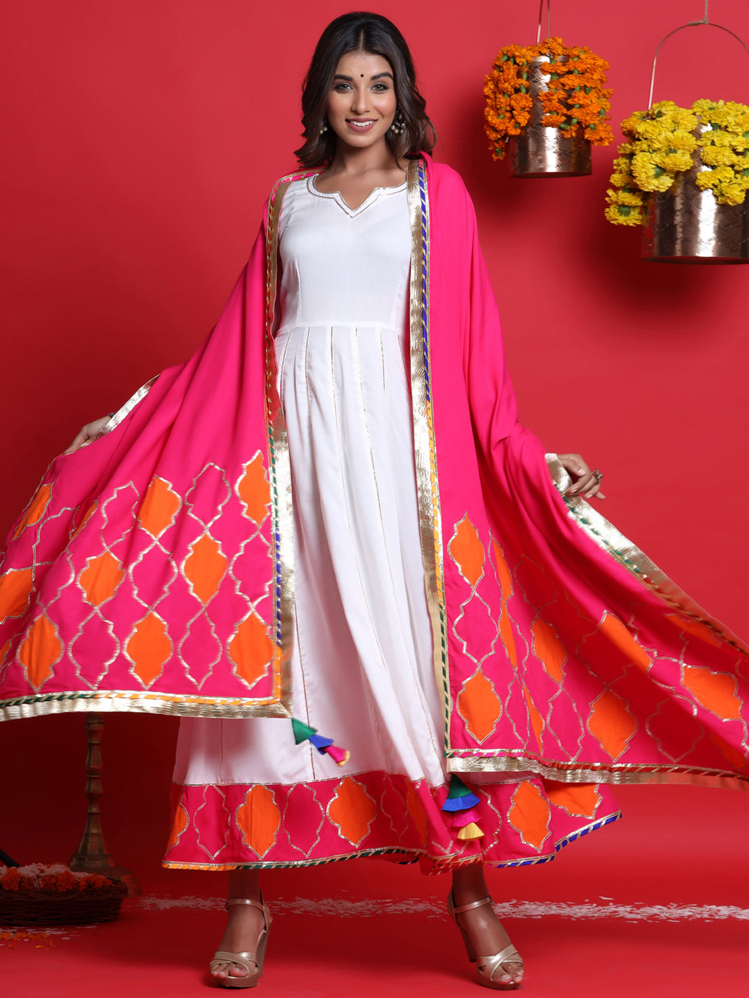 White Anarkali Kurta Set