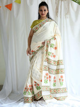 Load image into Gallery viewer, White Floral Hand Block Printed Saree