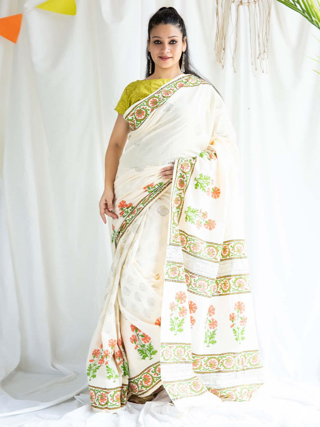 White Floral Hand Block Printed Saree
