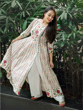 Load image into Gallery viewer, White Floral Print Kurta Pant Set