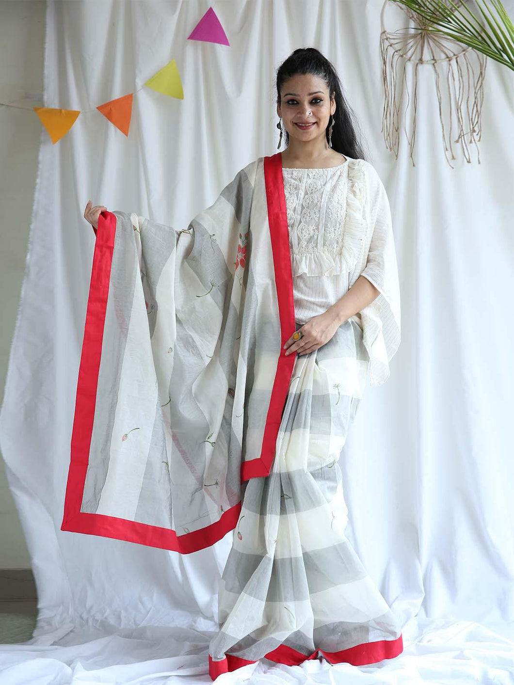 White & Grey Floral Hand Block Printed Saree