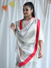 Load image into Gallery viewer, White & Grey Floral Hand Block Printed Saree