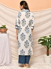 Load image into Gallery viewer, White Hand Block Kurta Palazzo Set