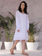Load image into Gallery viewer, White High Low Balloon Sleeve Dress