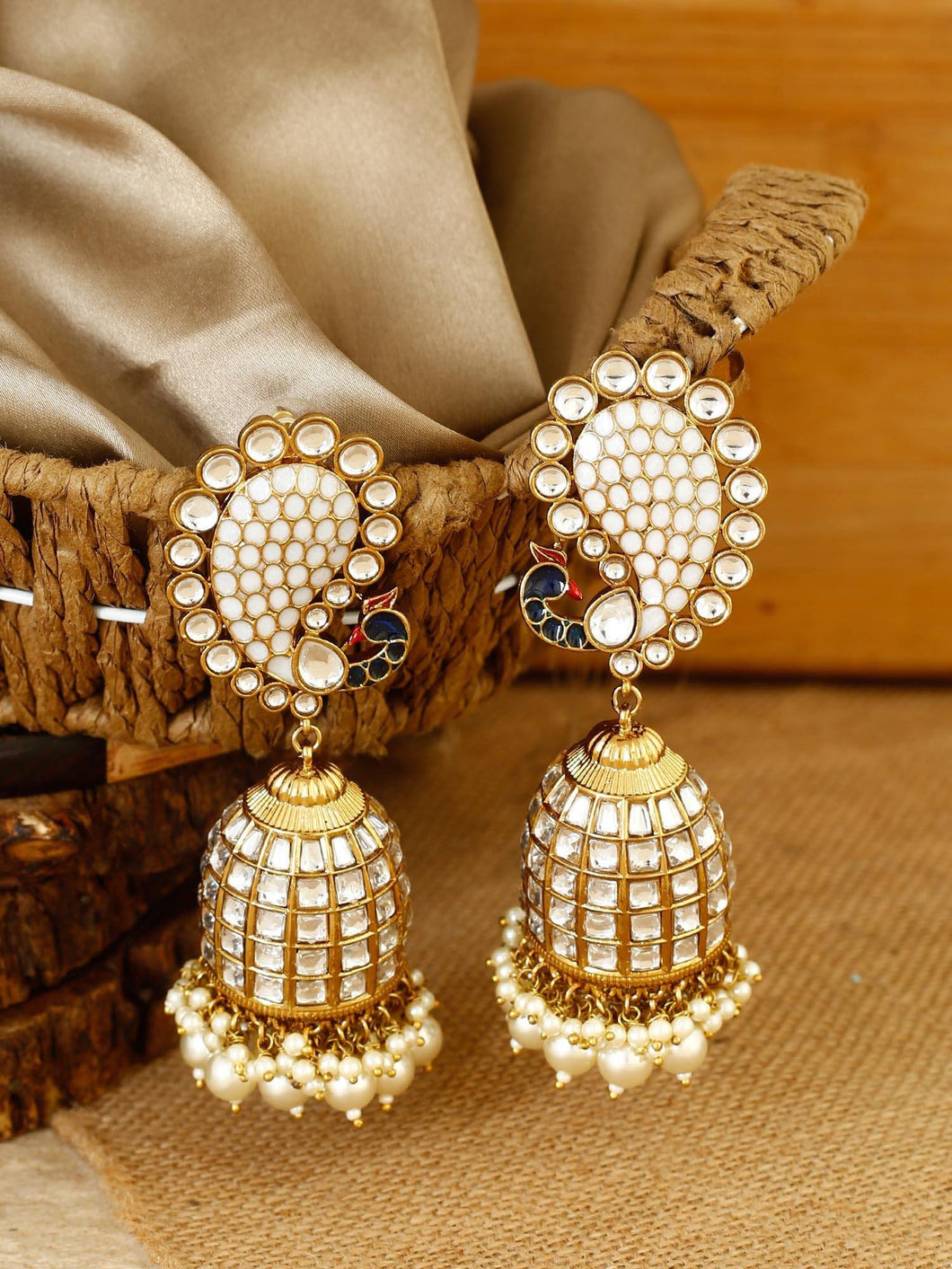 White Jhumkis with Stones and Beads