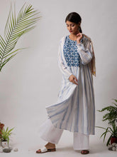 Load image into Gallery viewer, White Kurta Palazzo Set with Stripes - The Wedding Brigade