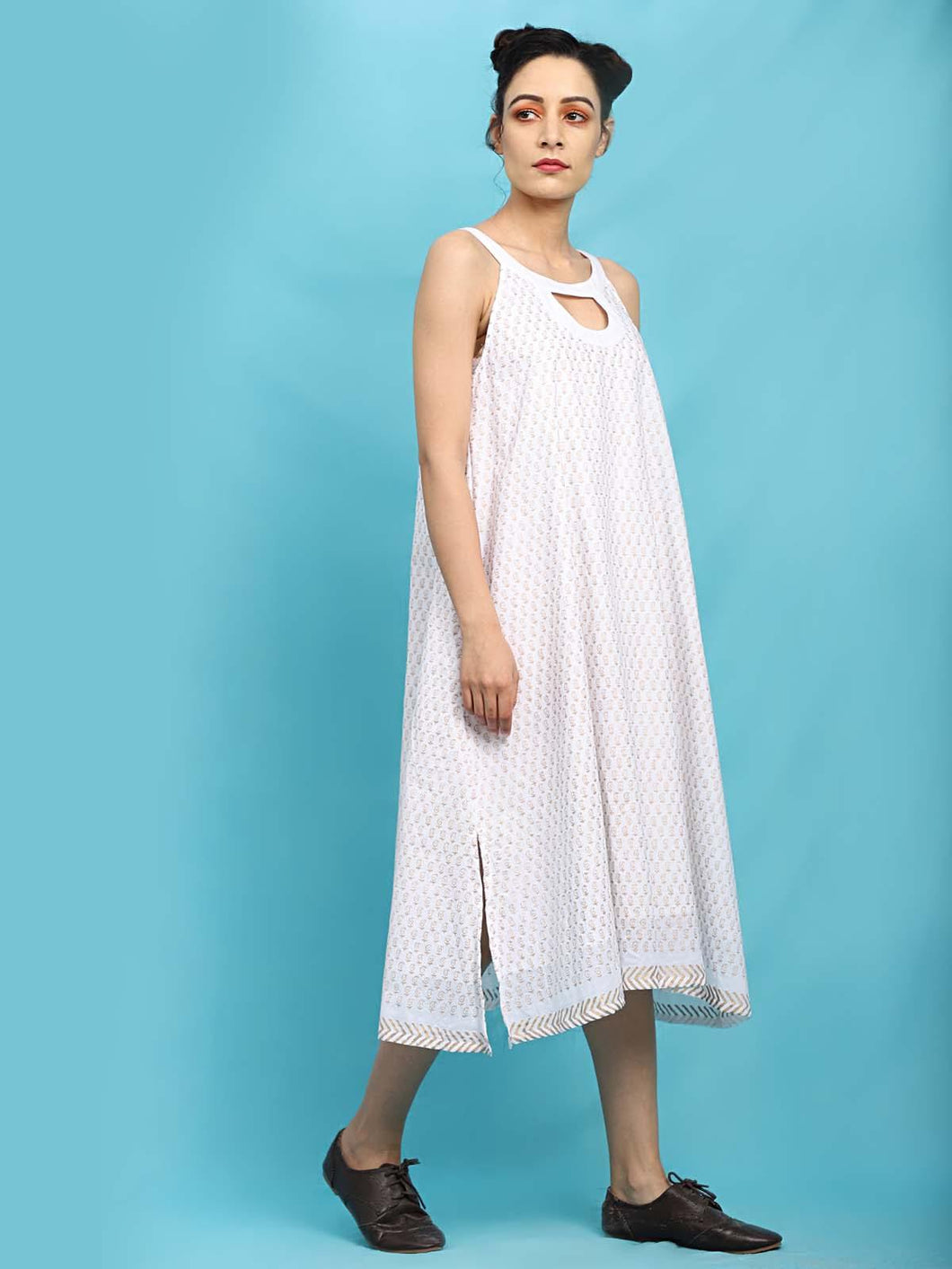 White Loop It Up A-Line Dress