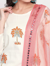 Load image into Gallery viewer, White Palm Tree Kurta Set with Dupatta