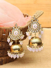 Load image into Gallery viewer, White Pearl Kundan Jhumkis