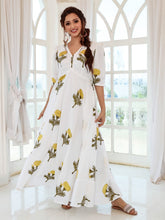 Load image into Gallery viewer, White Floral Printed Maxi Dress