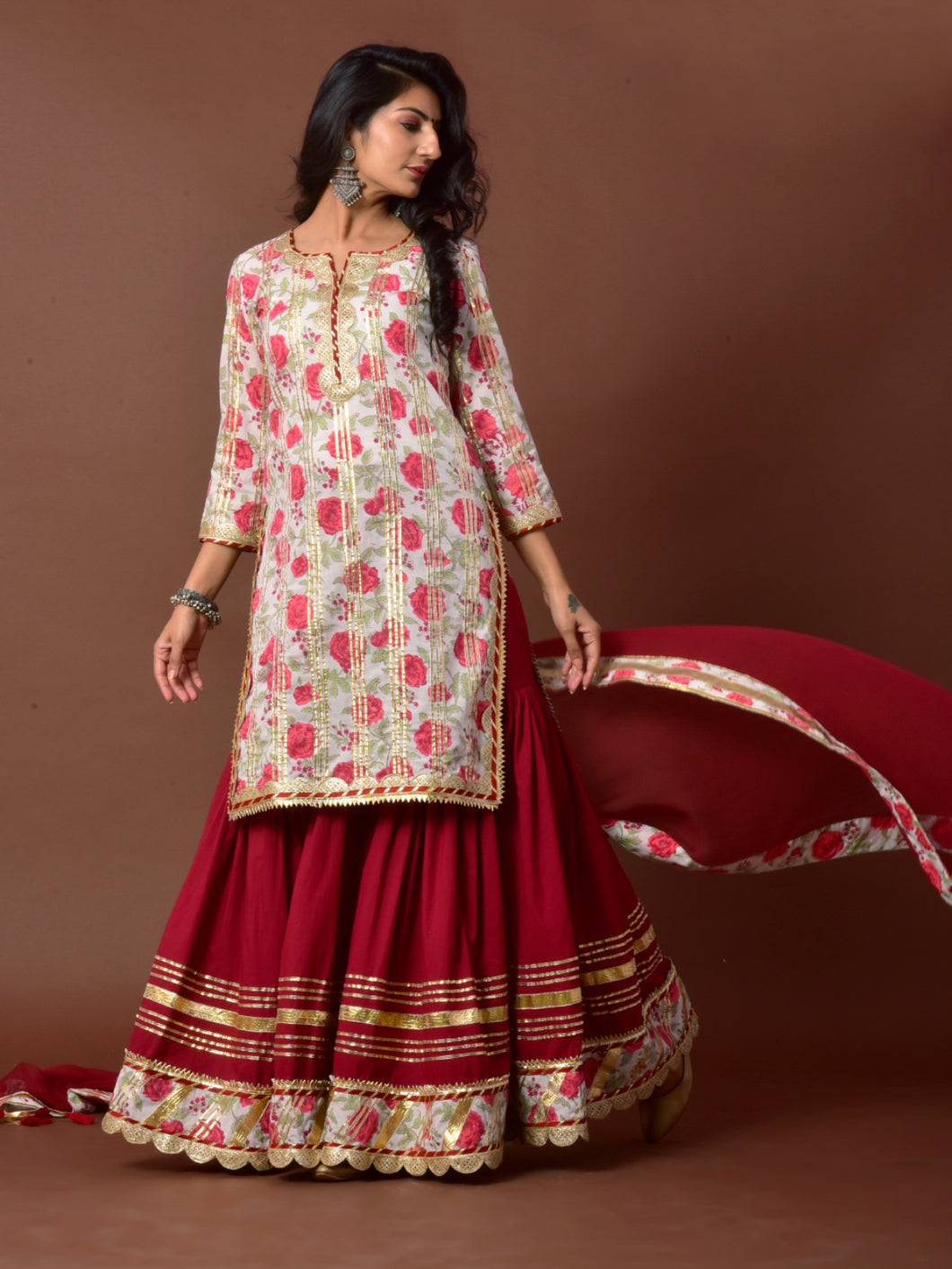 White & Red Printed Kurta Gharara Set