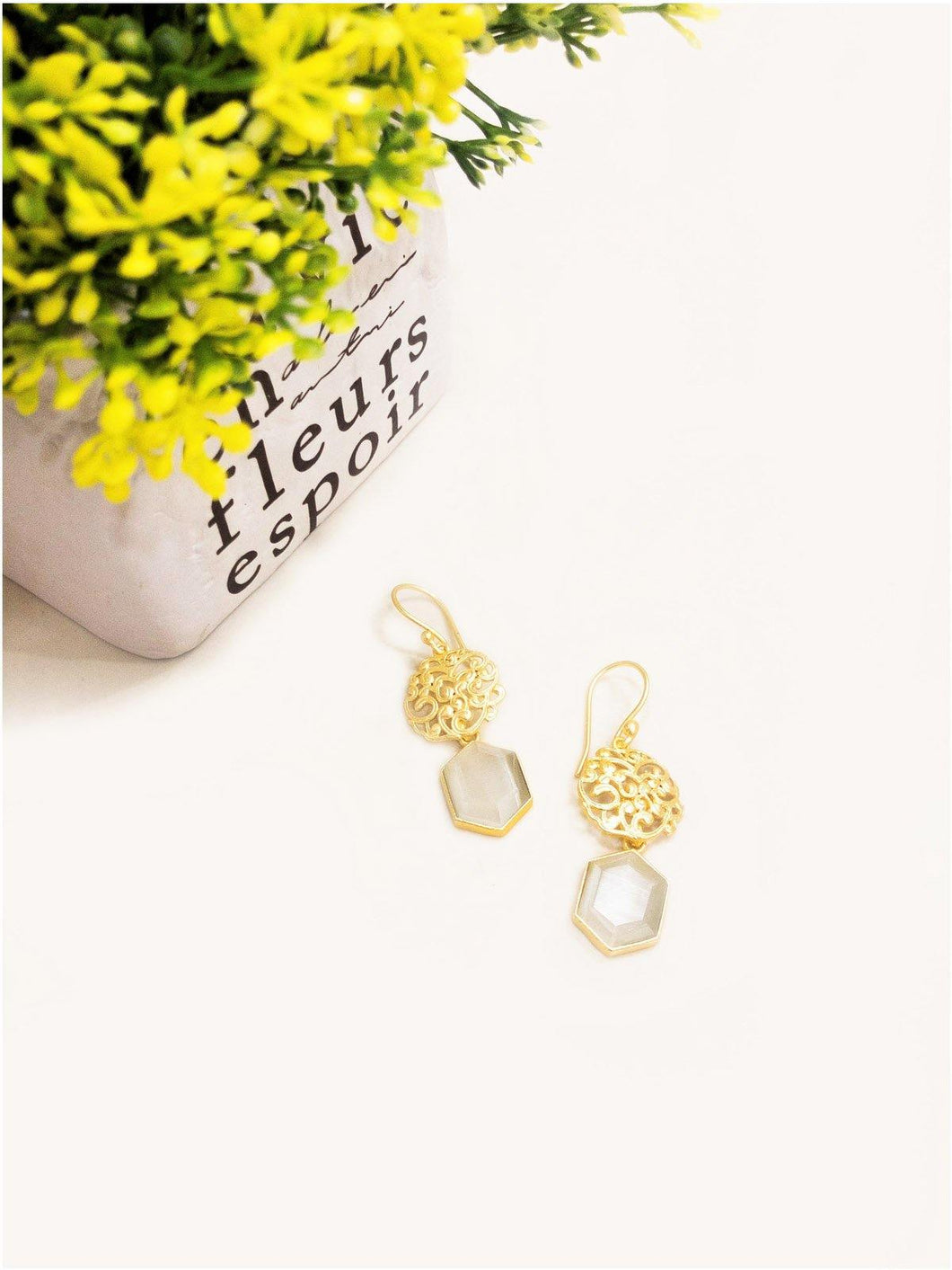 White Stone Gold Earrings - The Wedding Brigade
