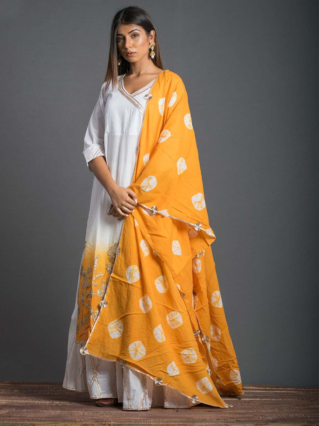 White & Yellow Kurta Sharara Set - The Wedding Brigade