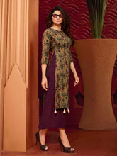 Load image into Gallery viewer, Wine Printed Kurta with Tassels