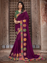Load image into Gallery viewer, Wine Solid Embroidery Saree - The Wedding Brigade