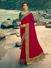 Load image into Gallery viewer, Wine Zari Embroidered Saree