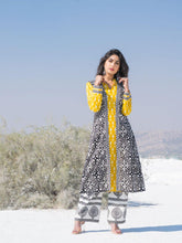 Load image into Gallery viewer, Yellow & Black Ikat Jacket Set
