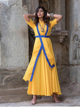 Load image into Gallery viewer, Yellow Blue Predrapped Dress