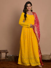 Load image into Gallery viewer, Yellow Chikankari Embroidered Anarkali Set