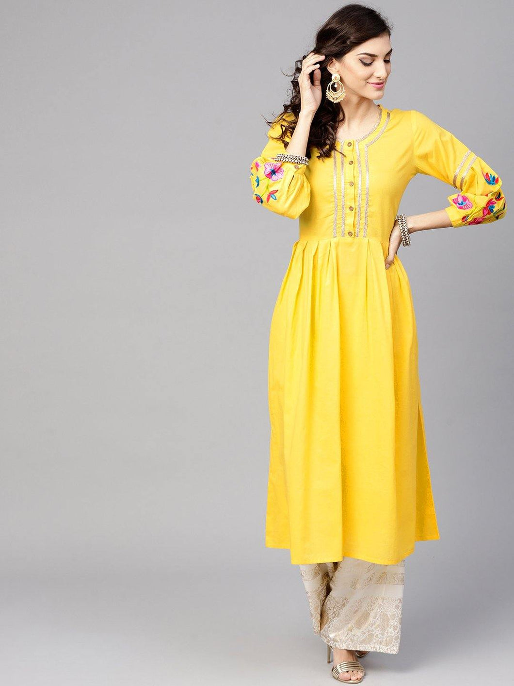 Yellow Embroidered A-Line Kurta