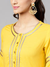 Load image into Gallery viewer, Yellow Embroidered A-Line Kurta