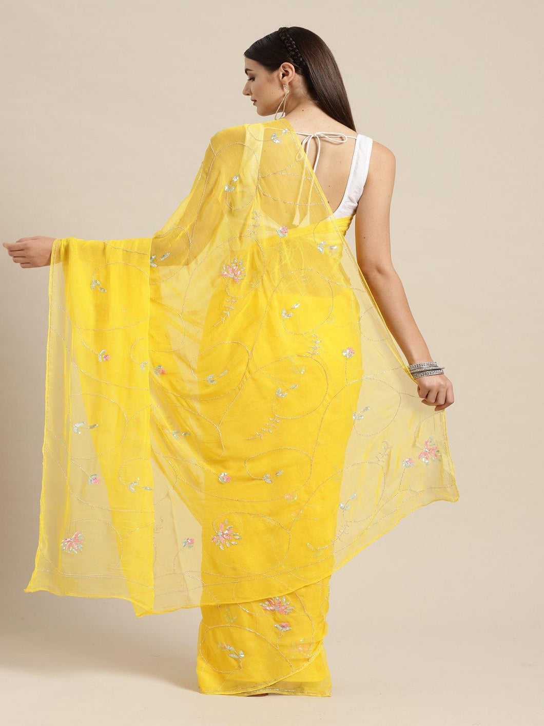 Yellow Embroidered Chiffon Saree