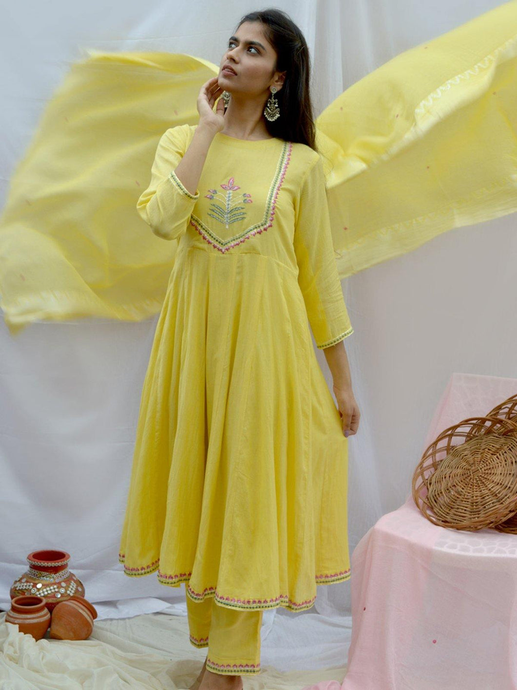 Yellow Embroidered Dupatta with Zari Woven Border