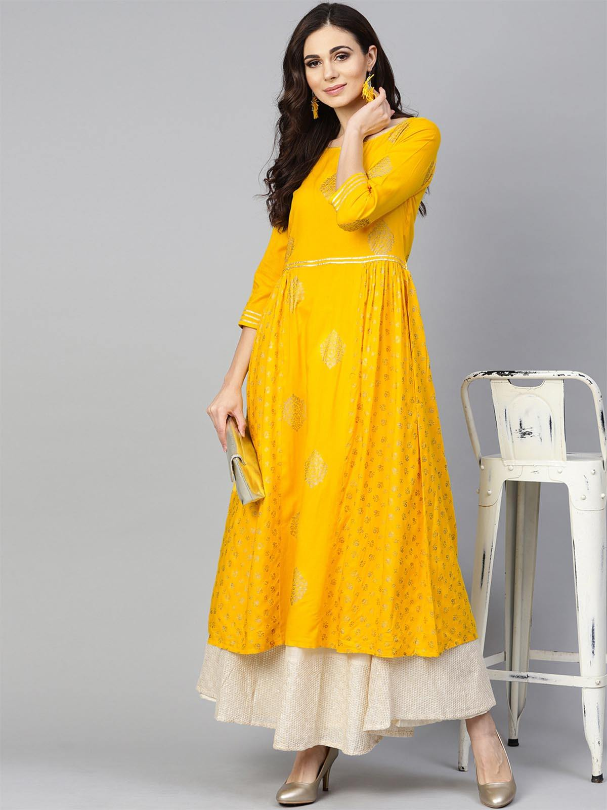 Yellow Gold Printed Kurta - The Wedding Brigade