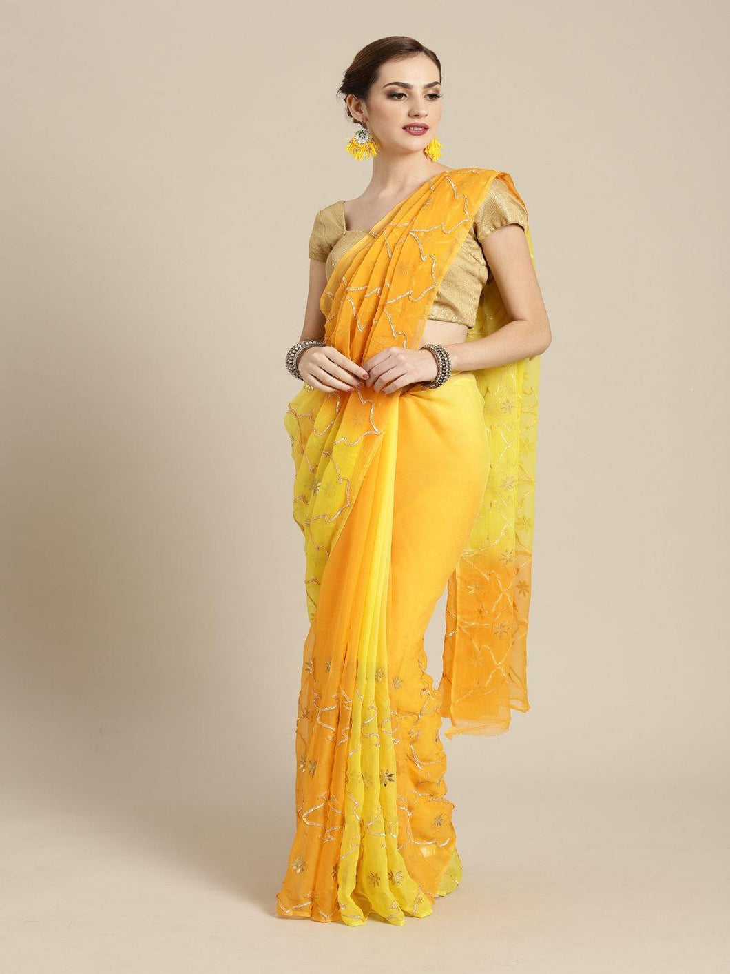 Yellow Gota Patti Saree - The Wedding Brigade
