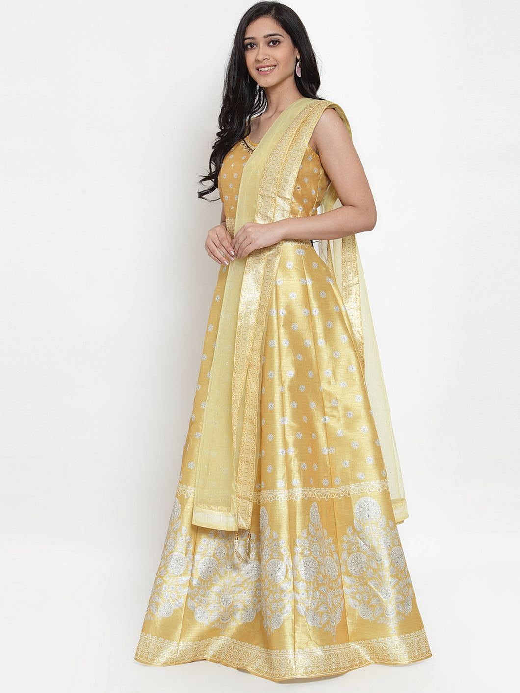 Yellow Motif Printed Gown