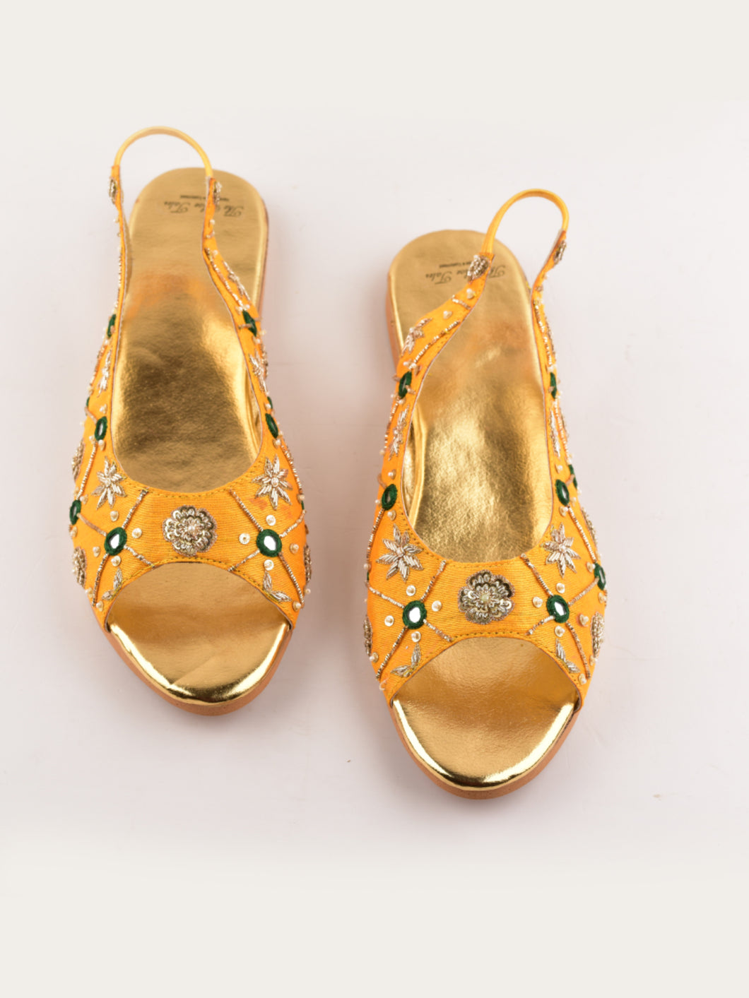Yellow Zardosi Embroidered Peep Toe Flats
