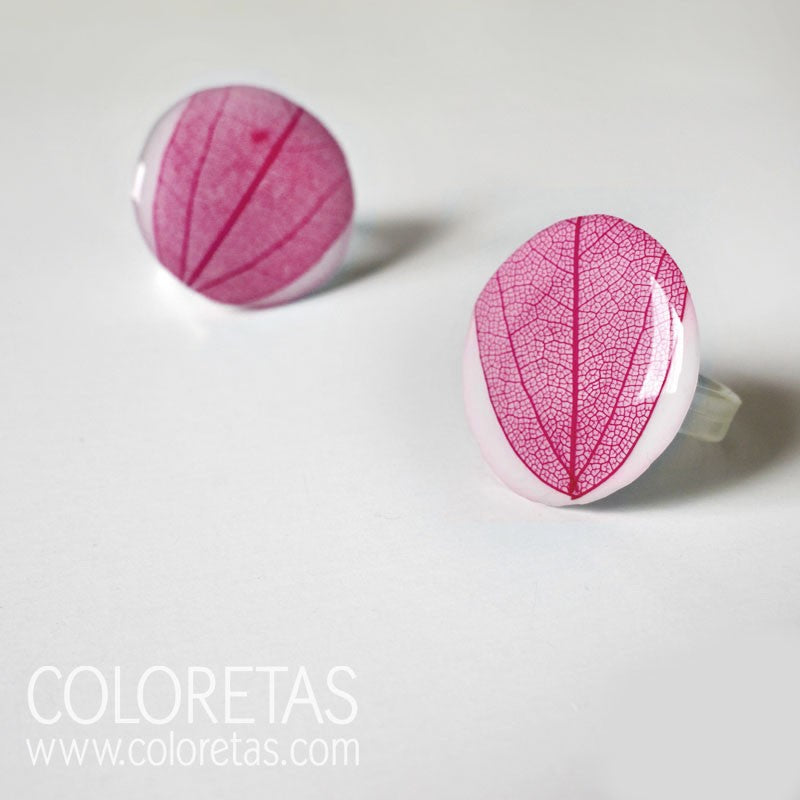Fuchsia Leaf Ring