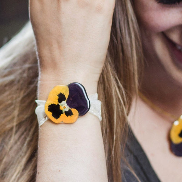 Big Yellow and Purple Pansy Bracelet