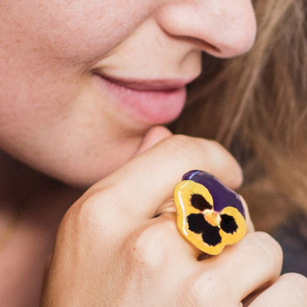 Yellow and Purple Pansy Ring