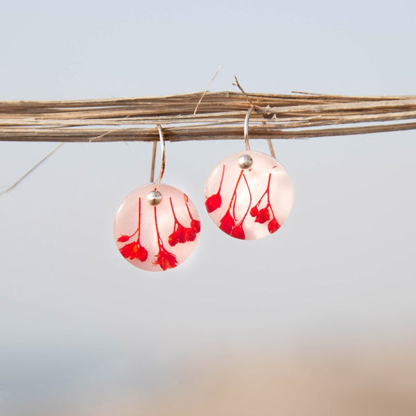 Red Flowers Hook Earrings