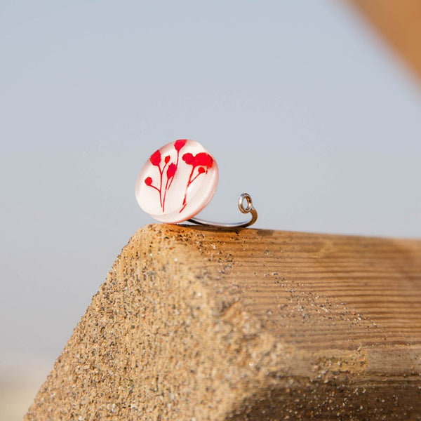 Adjustable Red Flowers Ring