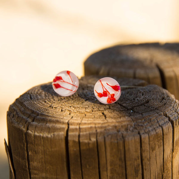 Red Flowers earstuds