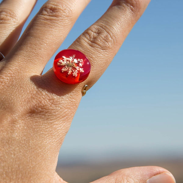 Adjustable red Anise flower ring