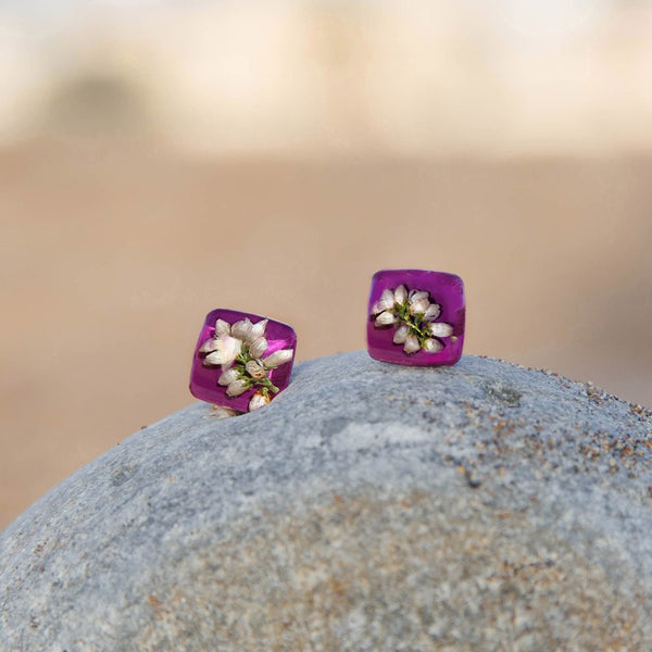 Purple Heather Stud Earrings