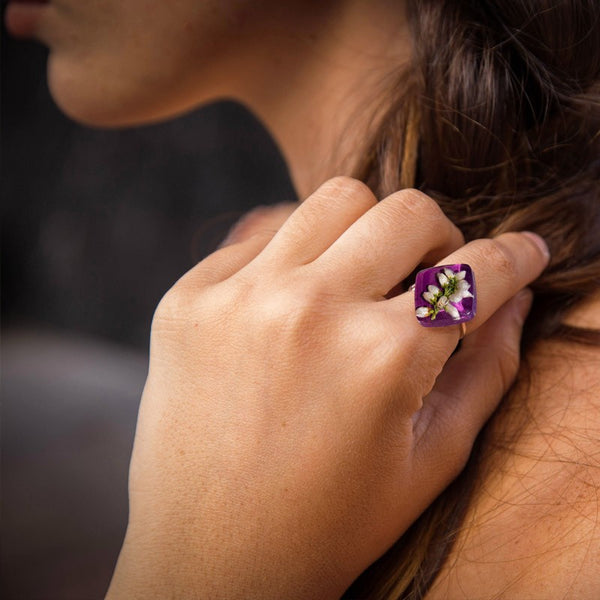 Adjustable purple heather ring