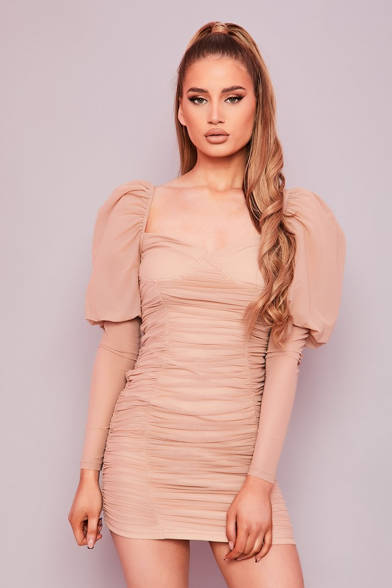 Beige Ruched Puff Sleeve Mini Dress