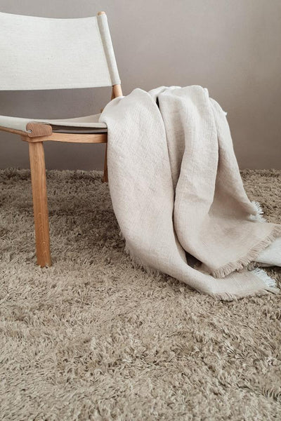 Light Gray Long Pile Linen Natural ROOTS LIVING Rug Roots Living