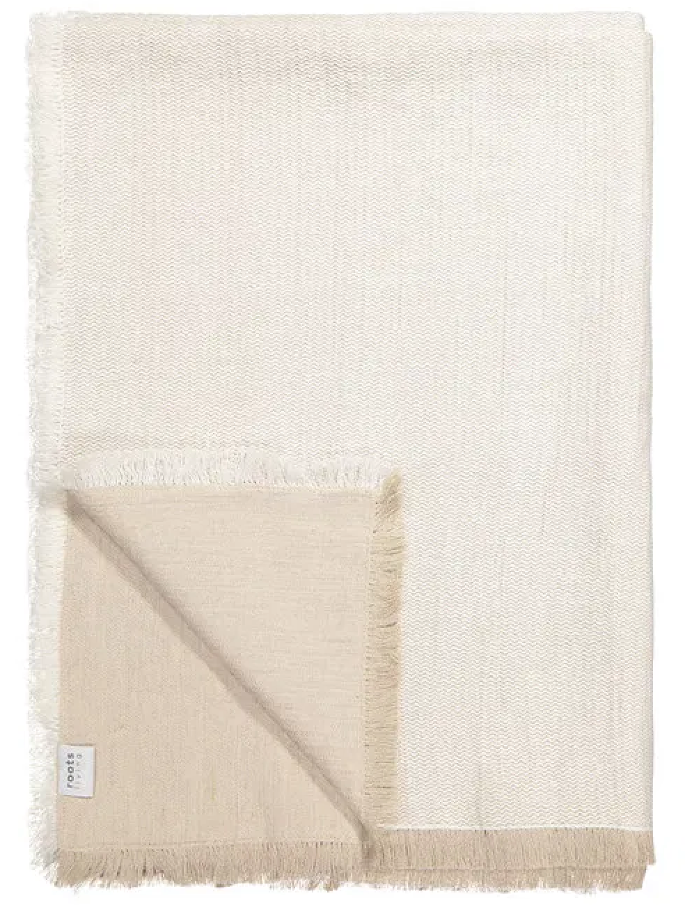 Antique White Fishbone Linen Throw/Bedspread White ROOTS LIVING Davanti Home Ideas