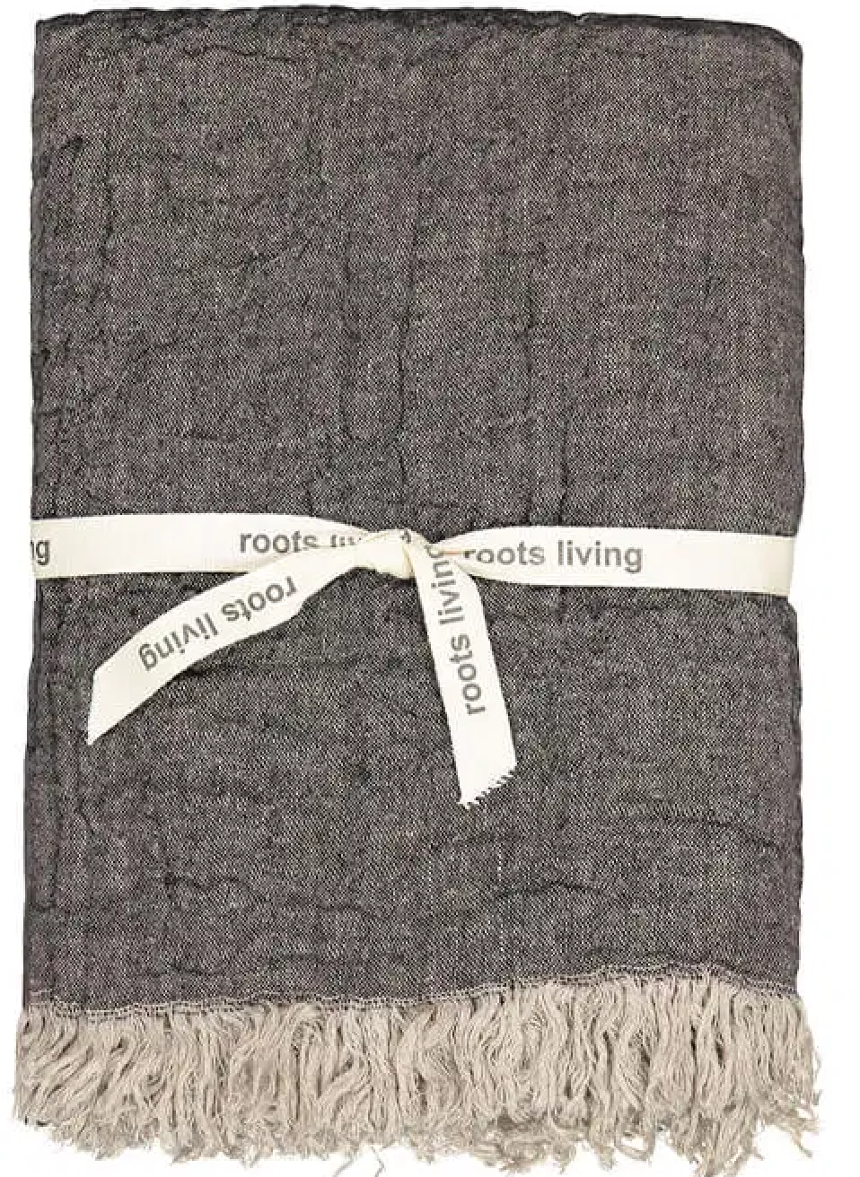 Dim Gray Linen Throw Graphite ROOTS LIVING Davanti Home Ideas