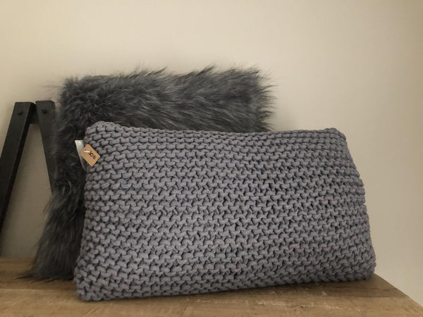 Dim Gray Hand knitted cushion grey Goround