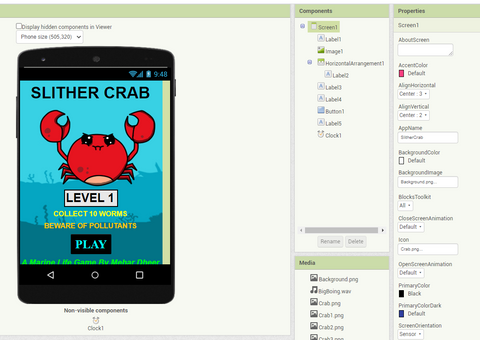 Slither Crab by Mehar Dheer on MIT App Inventor