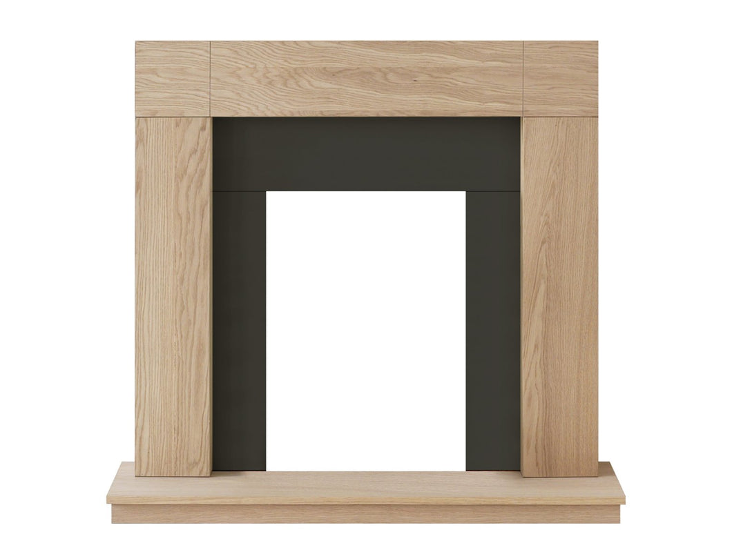 Adam Malmo Fireplace in Oak & Black/Cream, 39 Inch