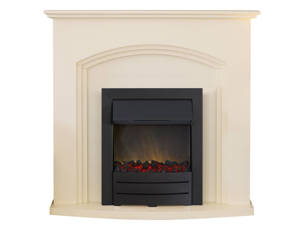 Adam Truro Fireplace Suite in Cream with Colorado Electric Fire in Black, 41 Inch
