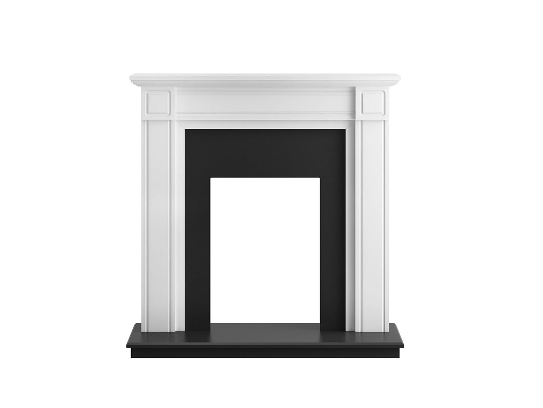 Adam Georgian Fireplace in Pure White and Black, 39 Inch