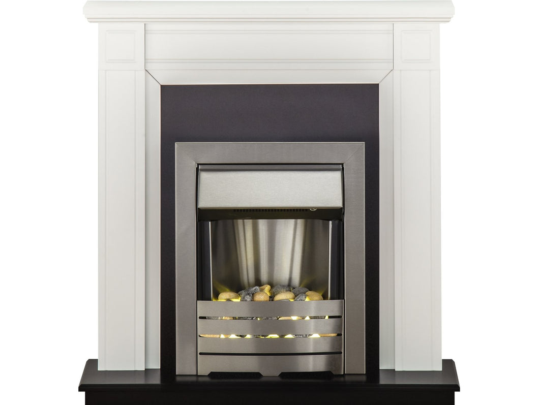 Adam Georgian Fireplace Suite in Pure White with Helios Electric Fire in Brushed Steel, 39 Inch